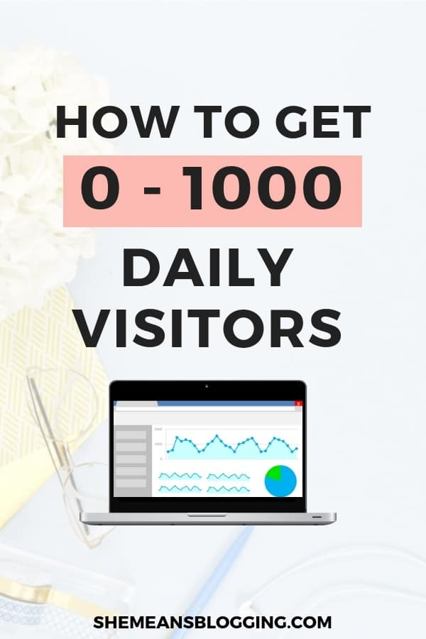 Blog traffic for beginners : how to get 0-1000 daily visitors to your blog for free. But, how to get daily 1000 pageviews? Work on 3 things! Click to find out #bloggingtips