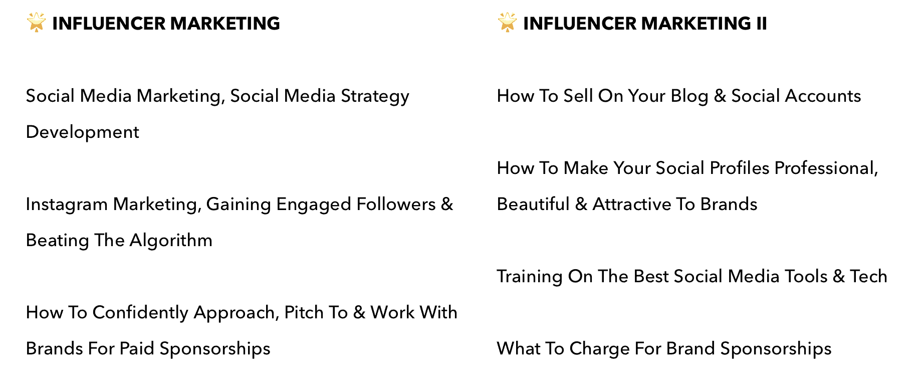 become a micro influencer - course outline