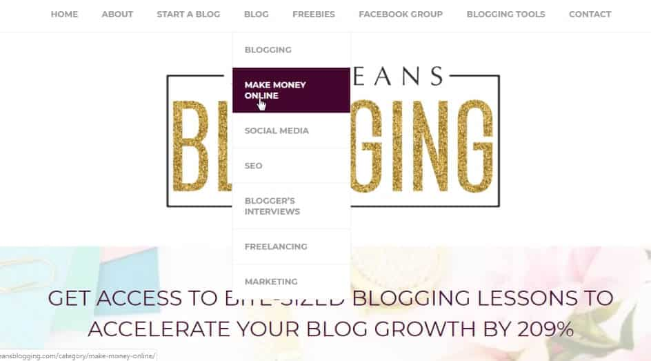 shemeansblogging homepage - tips for a new affiliate site