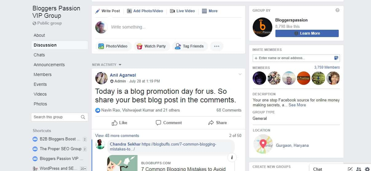 facebook group - ranking a new website on google