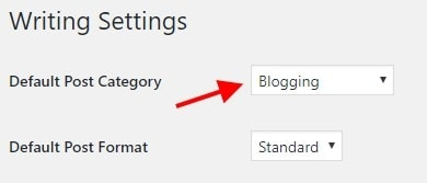 after installing wordpress, set default category for wordpress