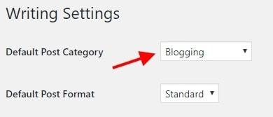 after installing wordpress, set default category for wordpress