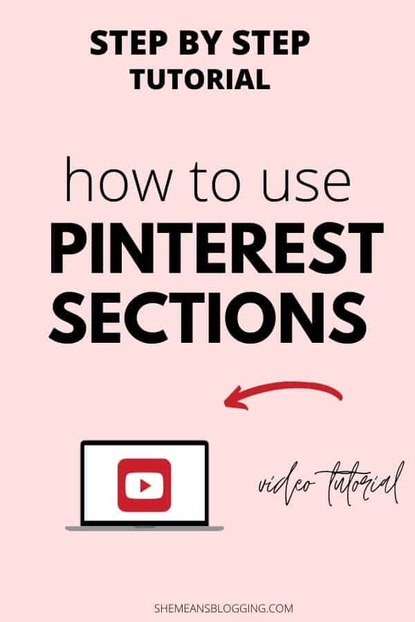 How to use pinterest sections to your pinterest boards? Follow this step by step tutorial to add sections to pinterest! Also, find out if pinterest sections searchable? Does sections boost pinterest seo? Click to read the answers in this detailed post + free video! #pinteresttips #pinterestmarketing #socialmediamarketing