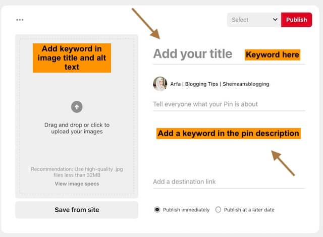 how to add keywords to pinterest pins directly