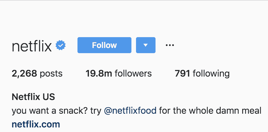 How netflix uses instagram bio to get customers and clients
