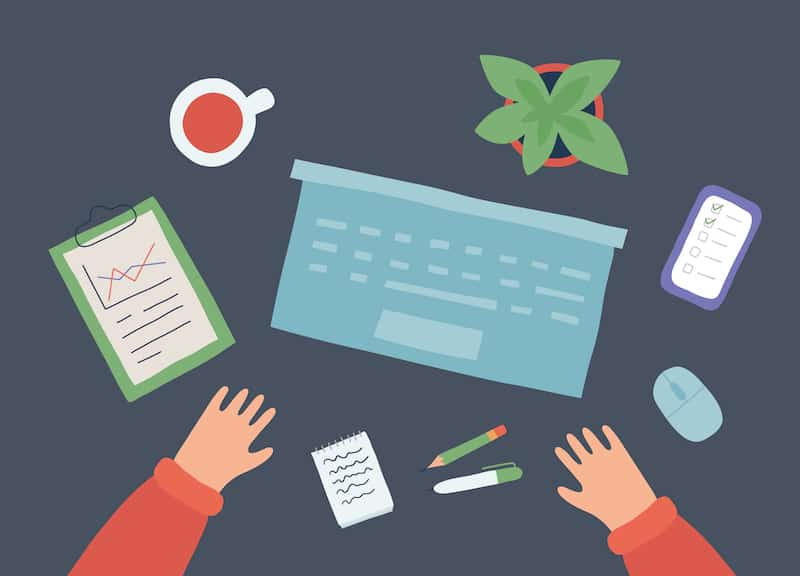 content creation strategies explained with a workspace with laptop smartphone