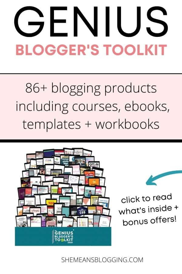 Genius Blogger's Toolkit to grow your blog! Get 86 eBooks, eCourses, and printables on how to start (and grow) an email list, monetize your blog, make eye-popping graphics, handle technical and legal website challenges, and so much more. 98% off. 8 days only. Click to learn more #bloggingforbeginner #makemoneyblogging
