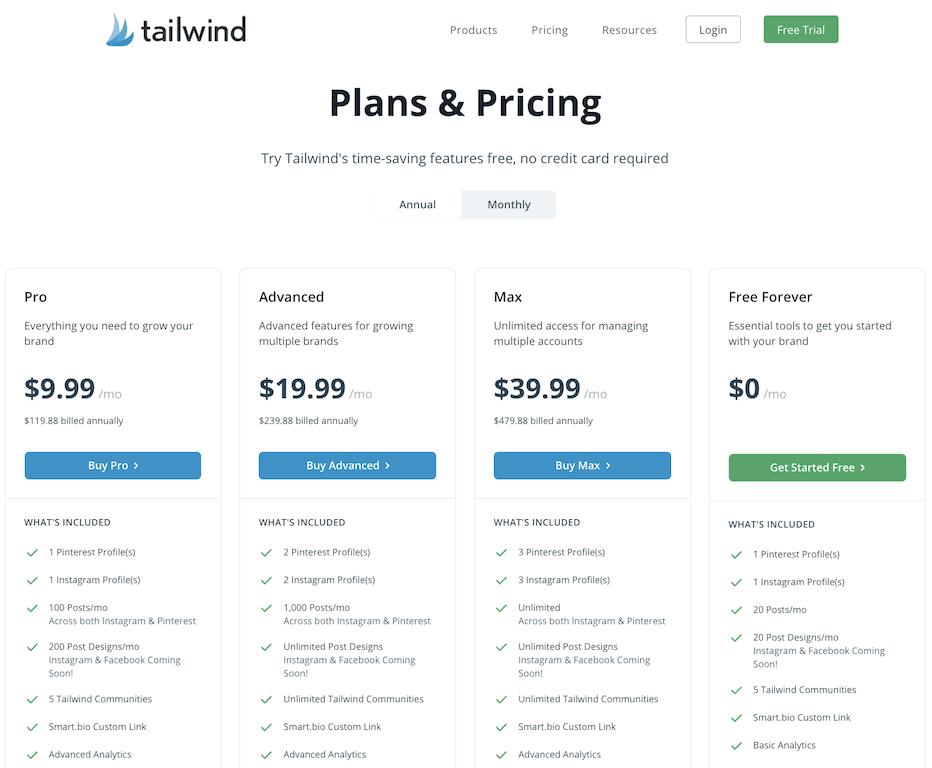 Tailwind app pricing