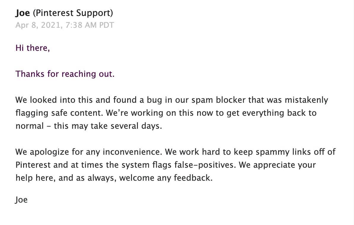pinterest team for account gets block