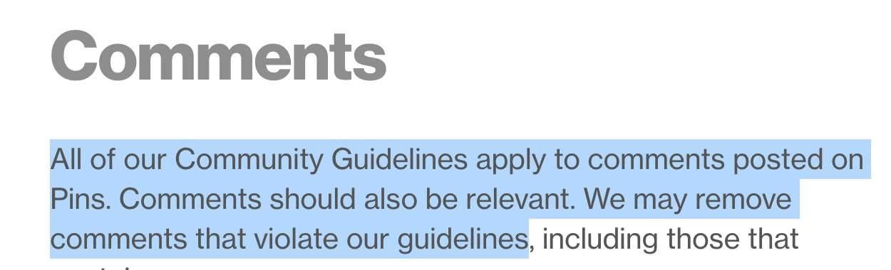 pinterest community guidelines