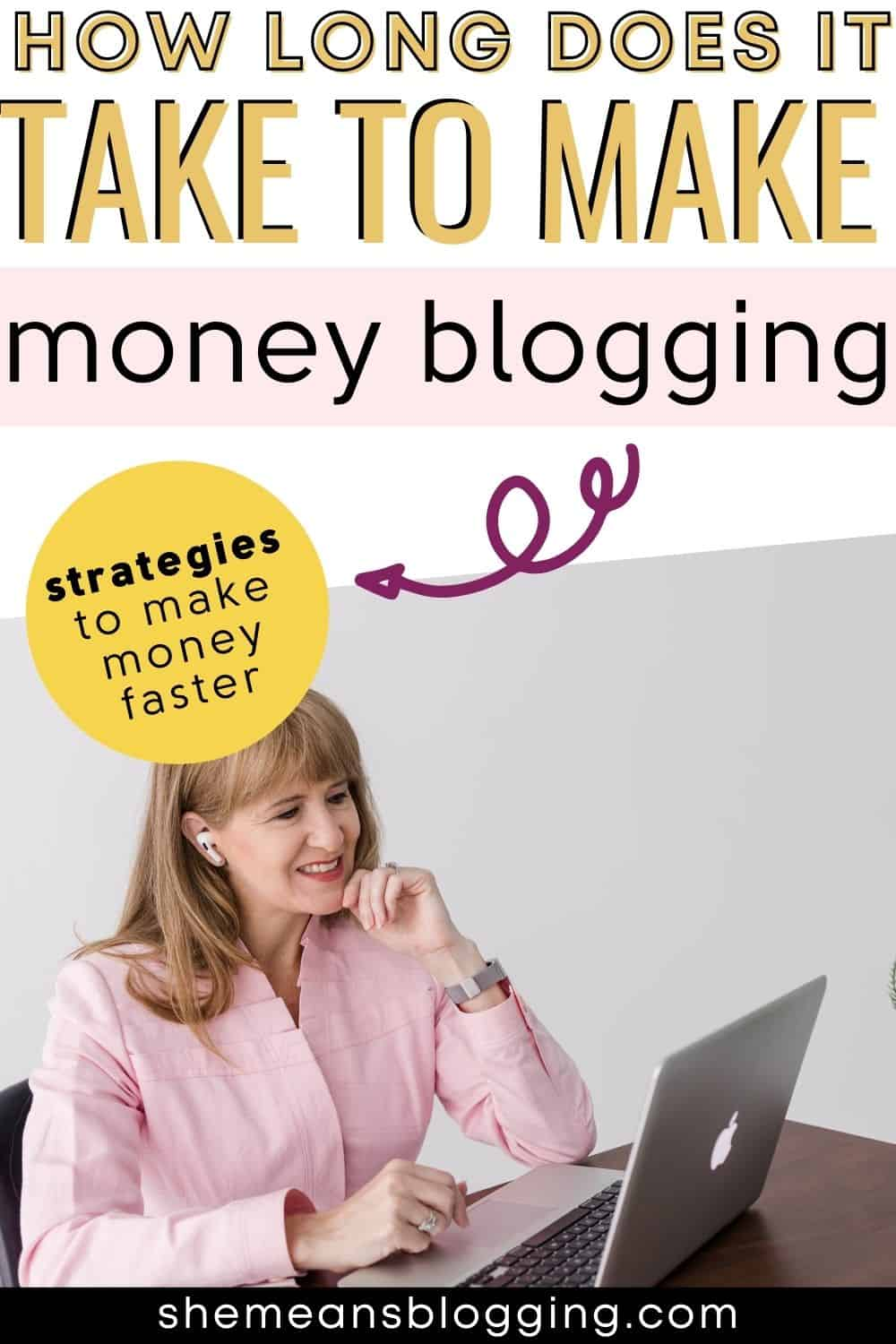 How long does it take to make money from blogging? Click to find the answer to how much time it takes to start making full time income from blogging. Plus, find multiple strategies to make money faster on your blog. Click to learn how to make money blogging if you are new.